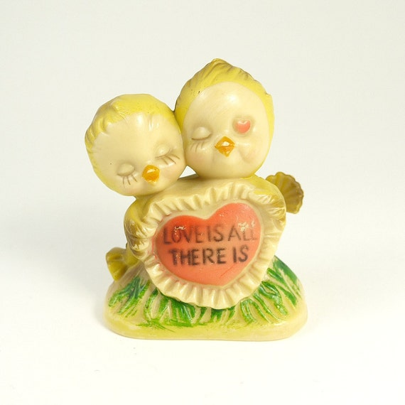 Vintage 70s Kitsch Plastic 'Love Is All There Is' Birds Figurine - Ideal Wedding Cake Topper