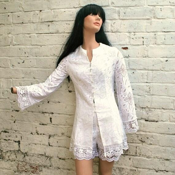 Vintage 60s White Lace Tunic Dress Set with Matching Hotpants Shorts - Unique Wedding Outfit Idea