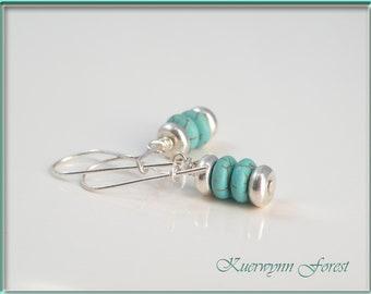 Turquoise Earrings, Stacked earrings, December Birthstone Jewelry, Bohemian Earrings, Beach Earrings, Minimalist Earrings, Simple Earrings