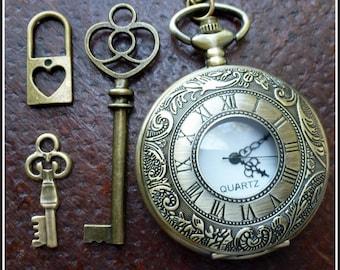 Wholesale Lot Steampunk pocket watch Alice in Wonderland necklace pendant charm tea pot cup tea cup  skeleton key 94 antique  bronze