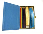 Rare Vintage Eagle Pencil Box Set British Verithin and Turquoise Pencils RESERVED