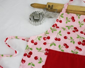 Retro Cherry Child Apron with red pocket