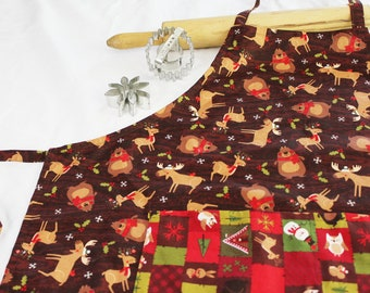 Christmas Bear and Moose Adult Apron with pocket