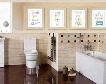 Art for Bathroom // Rules for Bathroom // Bathroom Wall Art // Bathroom Rules for Kids // Bath Art Set of Four  8x10 PRINTS ONLY
