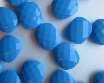 Blue Faceted Rectangle Acrylic Beads 20mm 20 Beads