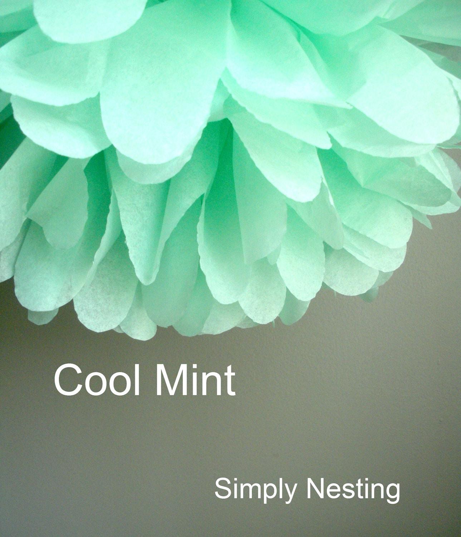 1 cool mint tissue paper pom pom. Black Bedroom Furniture Sets. Home Design Ideas