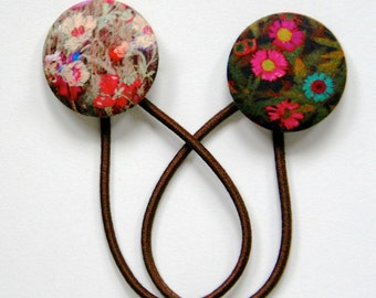 Liberty of London 2012 Hair Elastics Set - Digital Fabric Isabella and Mawston Meadow Modern Floral Covered Button Hair Ties
