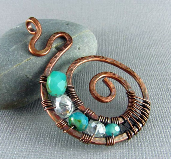 wire wrapped pendant handmade art jewelry wire wrapped jewelry
