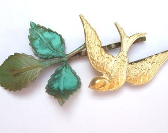 Weddings Bridal Hair Accessories Gold Bird Leaves Hairpiece Clips Bridesmaids
