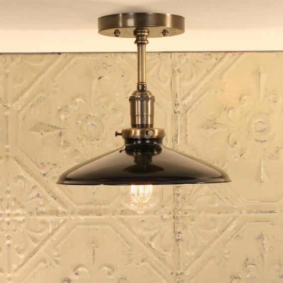 Lighting with Enamel Shade - Black Semiflush lighting