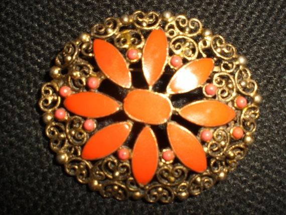 Vintage Brass Enamel Orange Flower Filigree Brooch Pin 1960s Gold Tone Bright
