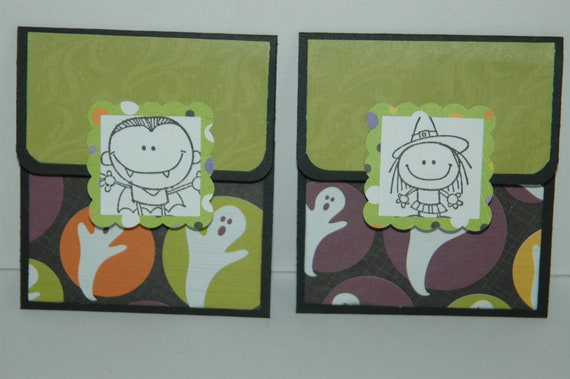 Two Halloween gift card holders