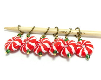 Knitting stitch markers Christmas peppermint candies set of six
