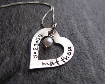 Personalized Heart Necklace: Hand Stamped Custom Sterling Silver Heart and Pearl Jewelry. Name and date necklace. Mother's Day, New Mom