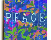 Wooden Art Sign Planked Peace Lives Here - Blue Paisley Wall Decor