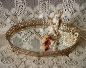 French country elegant metal filigree Oval vanity mirror