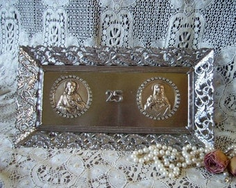 Vintage Metal filigree Framed with Rhinestones Sacred Heart and Immaculate heart Medallions