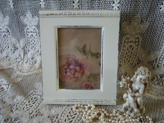 Shabby French Country style Frame wood Embossed Trim 5 x 7 picture
