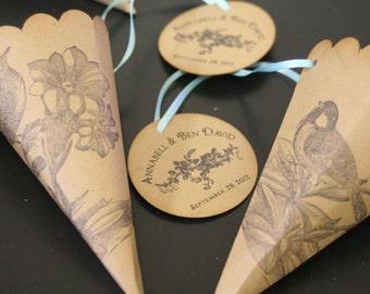 Wedding Favor Paper Cones,  Monogram Tag, Birds & Flowers, Confetti Cones, Petal Toss, Lavender Toss, Kraft Cardstock, Vintage, Rustic