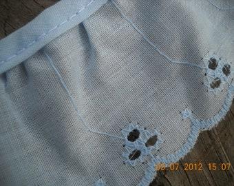 Viintage Eyelet Ruffle Lace trim Pretty sweet cotton  powder blue light blue over 5 yard scalloped embellished