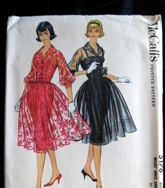 McCalls 5176 Misses 1950s Evening Dress & Slip Pattern Bust 34 Shirtwaist, Three Quarter Sleeves, Sheer or Lace Fabric, Camisole Top Slip