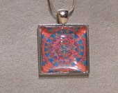Mandala square pendant, glass dome tile and silver plated chain