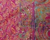 Vintage Pure Silk Saree Used Printed Magenta Dress Recycled Fabric Craft Women Wrap Sari - SCR896
