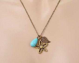 Leaf Necklace, Leaf Pendant, Skeleton Leaf Flower, Flower Necklace, Charm Necklace, Leaf Jewelry,Turquoise Pendant,Leaf Necklace with Flower
