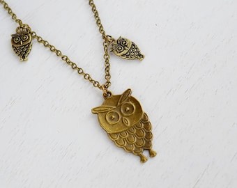 Brass Owl Necklace, Owl Jewelry Necklace,Affordable Owl Necklace. Feathery Owl Necklace, Google Eye Cute Owl,Owl Family Necklace