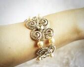VICENTA, Bridal Pearl Bracelet, Swarovski Crystal and Pearl Wedding Cuff Bracelet, Victorian Style Spiral Pendant Wedding Bridal Jewelry