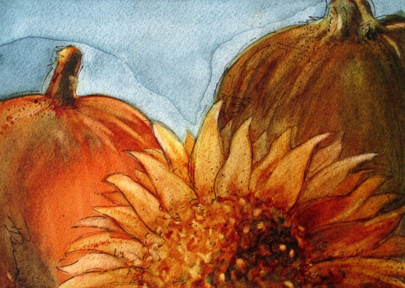 Sunflower and Pumpkins Watercolor Painting