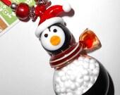 Pablo the Penguin Lampwork Glass Snowglobe Pendant Necklace or Christmas Ornament