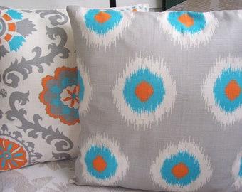 Orange Aqua Gray Decorative Throw Pillow Cushion Covers Accent Pillows 16 Inch Suzani Ikat Pillows Couch Sofa Pillow Bed Pillows Nursery