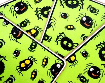 CLEARANCE- Blank Notecard Set - 4 Different Cards with Matching Embellished Envelopes: Halloween Spiders