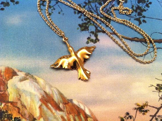Skylark bird necklace Vermeil - gold plated