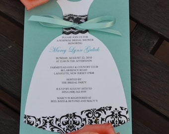 Damask Dress Bridal Shower Invitation