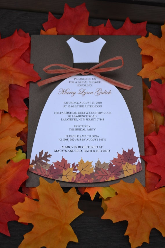 Autumn Love Bridal Shower Dress Invitation