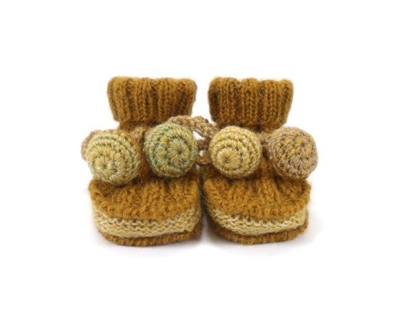 Hand Knitted Baby Booties - Mustard Brown, 6 - 9 months