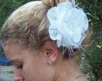 White Silk Hair Flower Clips, Silk Bridal Flower, Hair Clip, White Bridal Flower Clip, Fascinator, Wedding Hair Clip, Flower Hair Accessory,