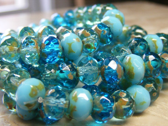 BLUE Mix Czech Glass Rondell Beads 6x4mm 25 beads, aqua, turquoise, transparent, opaque,picasso