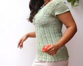Desert Green - Crochet Shirt - Made to Order