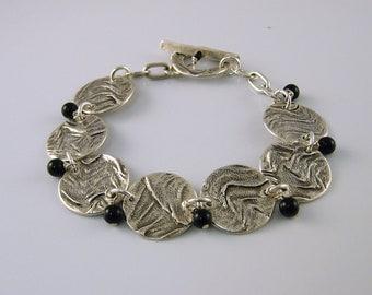 Silver and Pearl Bracelet,  Silver Bracelet, Black Pearl Bracelet, Mother's Day Gift, Gift for Mom, Gift for Her, Elegant Bracelet, Artisan