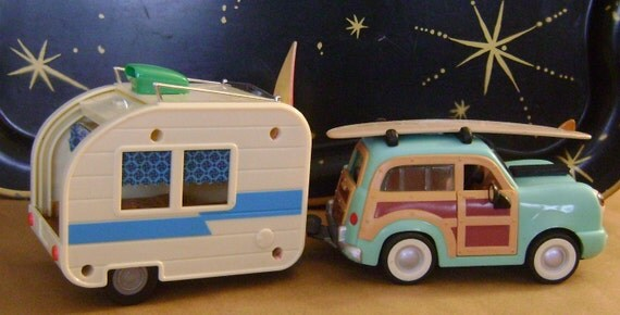 customized woody wagon and retro camper.........