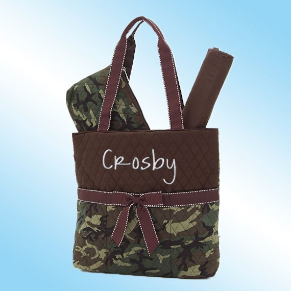 Diaper Bag - 3 Piece Personalized Set - Quilted Camouflage with Dark Brown