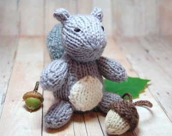 Gray Squirrel with Acorn Knitting Pattern and Picture Tutorial - Squirrel Acorn Toy PDF - Waldorf Knit Squirrel Acorn Pattern DIY