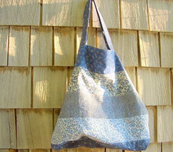 Large Blue Tote, Market Bag, Reuseable Grocery Bag, Grocery Tote Striped Tote