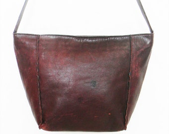 Vintage Early 90s Oxblood Leather Tote  KOREA