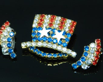 Vintage Red, White And Blue Rhinestone Uncle Sam Patriotic Hat And Clip Earrings Set