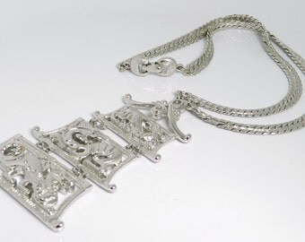 Rare Vintage Monet Asian Chinese Dragon Pagoda Runway Style Silver Tone Necklace