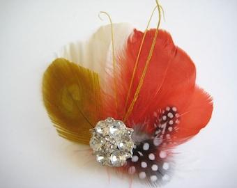 Fall Autumn Wedding Bridal Bridesmaid Ivory Mustard Peacock Burnt Orange Feather Rhinestone Jewel Hair Clip Fascinator